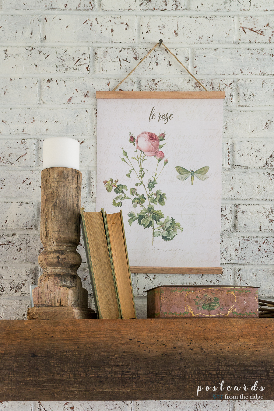 vintage themed mantel with rose botanical print