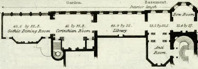 Room layout of left-hand side of basement floor of Carlton House from  Illustrations of the Public Buildings of London by J Britton and A Pugin (1825) anotated from key by Rachel Knowles