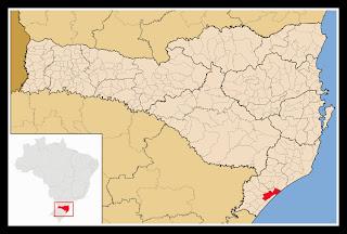 Cidade de Araranguá, no mapa de Santa Catarina