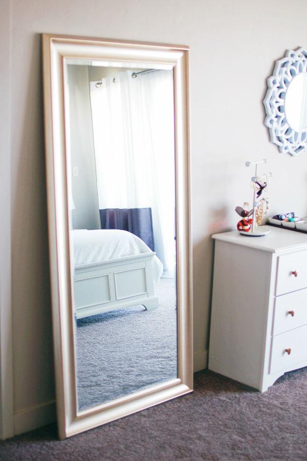 Gold floor length mirror master bedroom decor