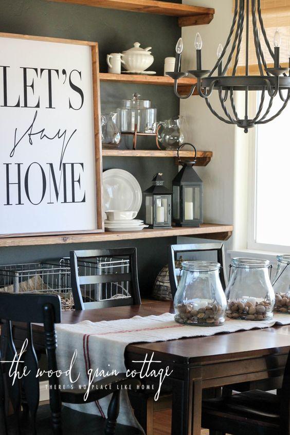 High contrast modern farmhouse dining room