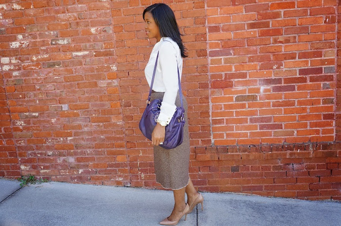 tweed long brown skirt