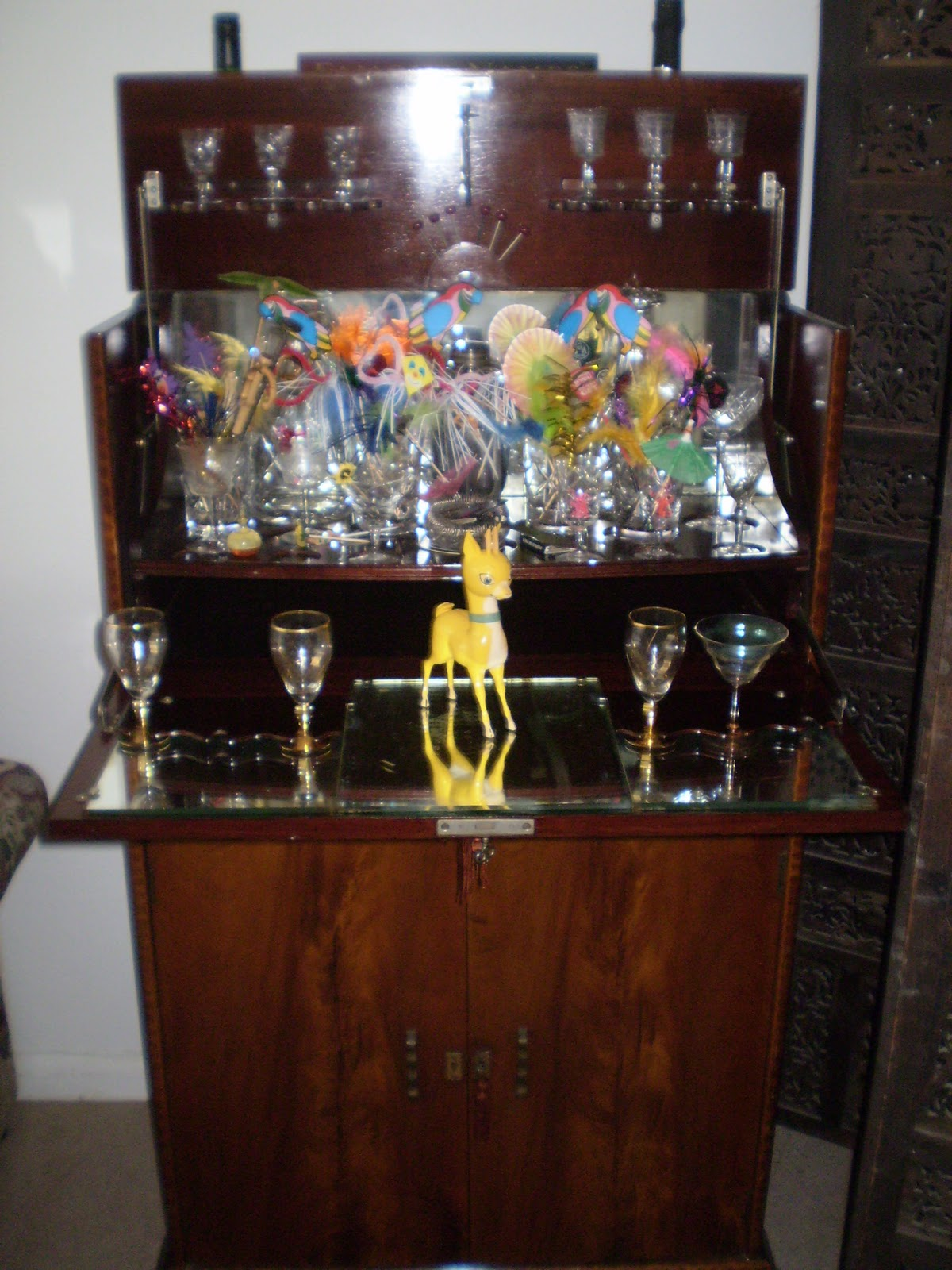 Retro drinks cabinet with glasses mirror and babycham