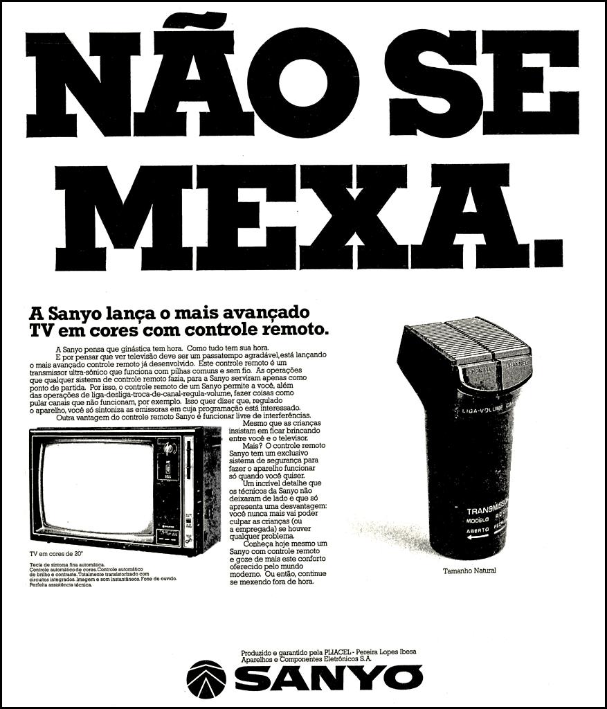 Propaganda antiga da Sanyo em 1975 com modelo de aparelho de TV com controle remoto