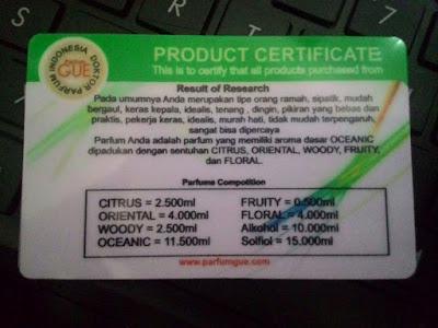 Bagian belakang sertifikat dari Parfum Gue