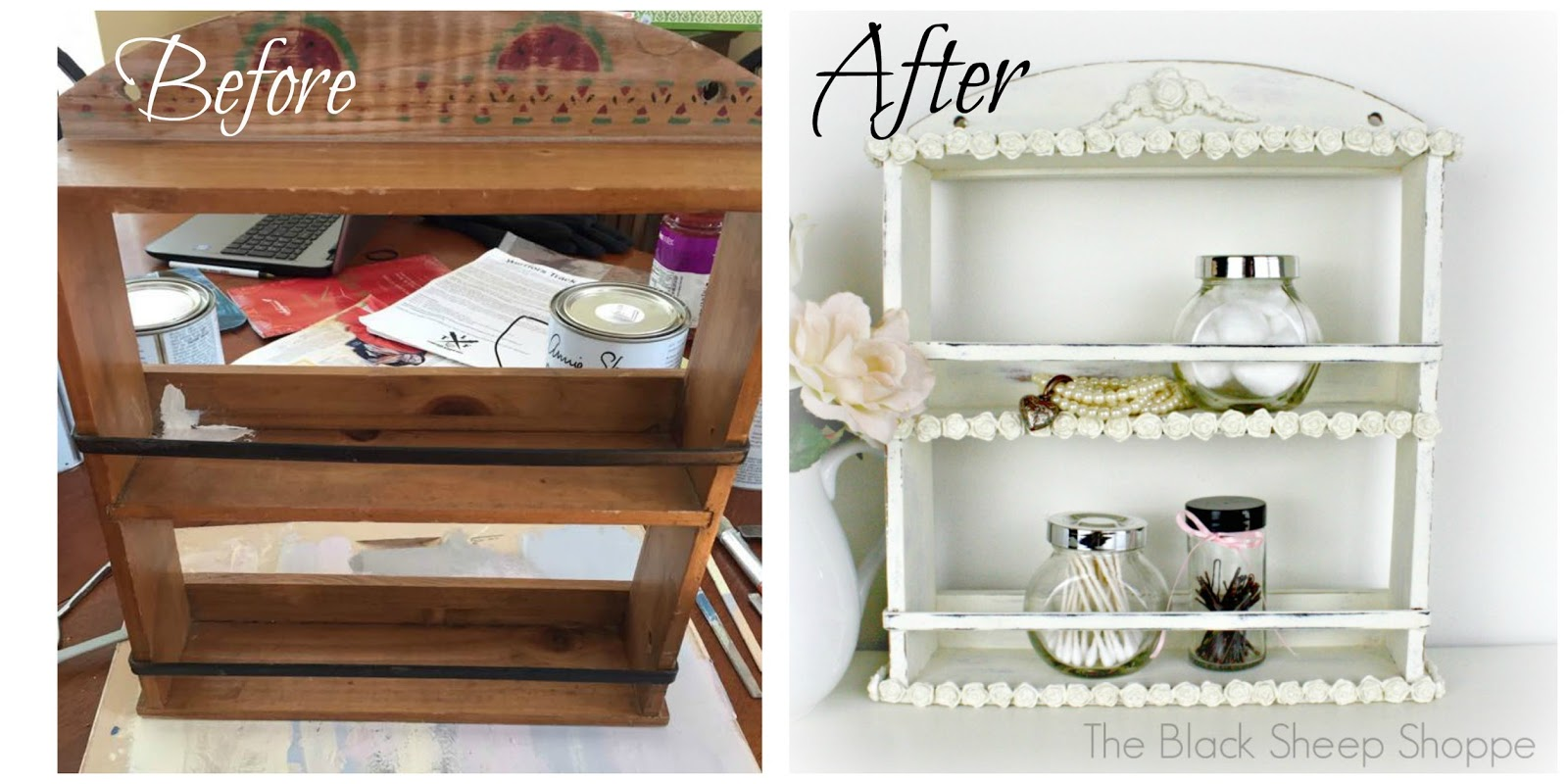 Before and after: Country spice rack to shabby chic shelf.