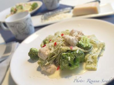 Fettuccine cu pui si brocoli