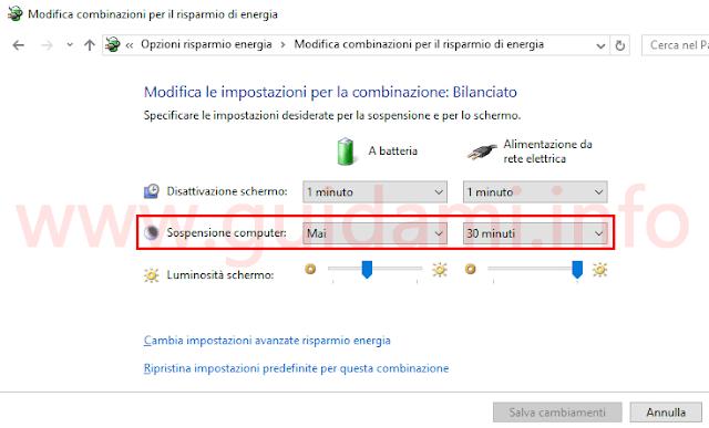 Windows modificare tempistica di sospensione del computer