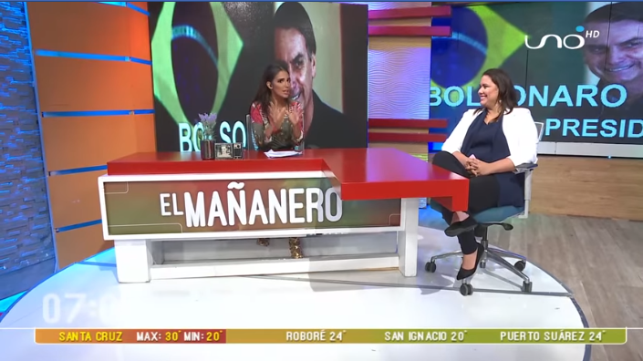 La activista de Las Calles Bolivia evaluando la victoria de Bolsonaro en red Uno / CAPTURA PANTALLA
