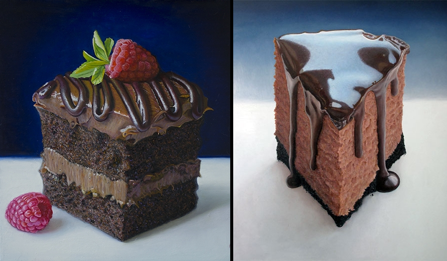 07-Chocolate-Cake-Cheescake-Mary-Ellen-Johnson-A-Sweet-Tooth-s-Dream-in-Food-Art-Paintings-www-designstack-co
