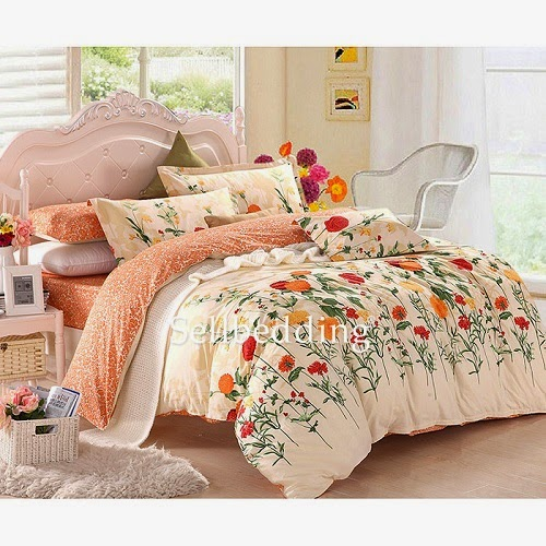 http://www.ogotobedding.com/white-and-orange-floral-patterned-cute-unique-cheap-bedinabag-p-200.html