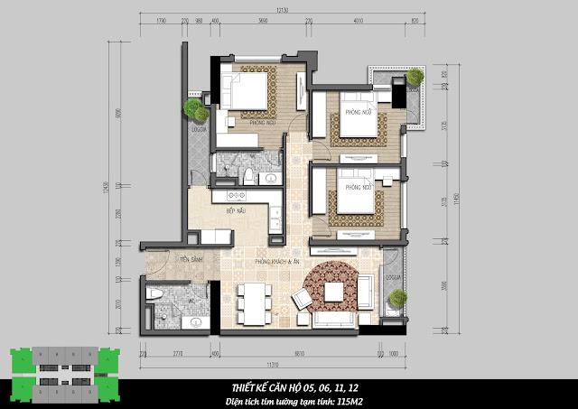 Thiết kế căn hộ 05, 06, 11, 12 diện tích 115m2