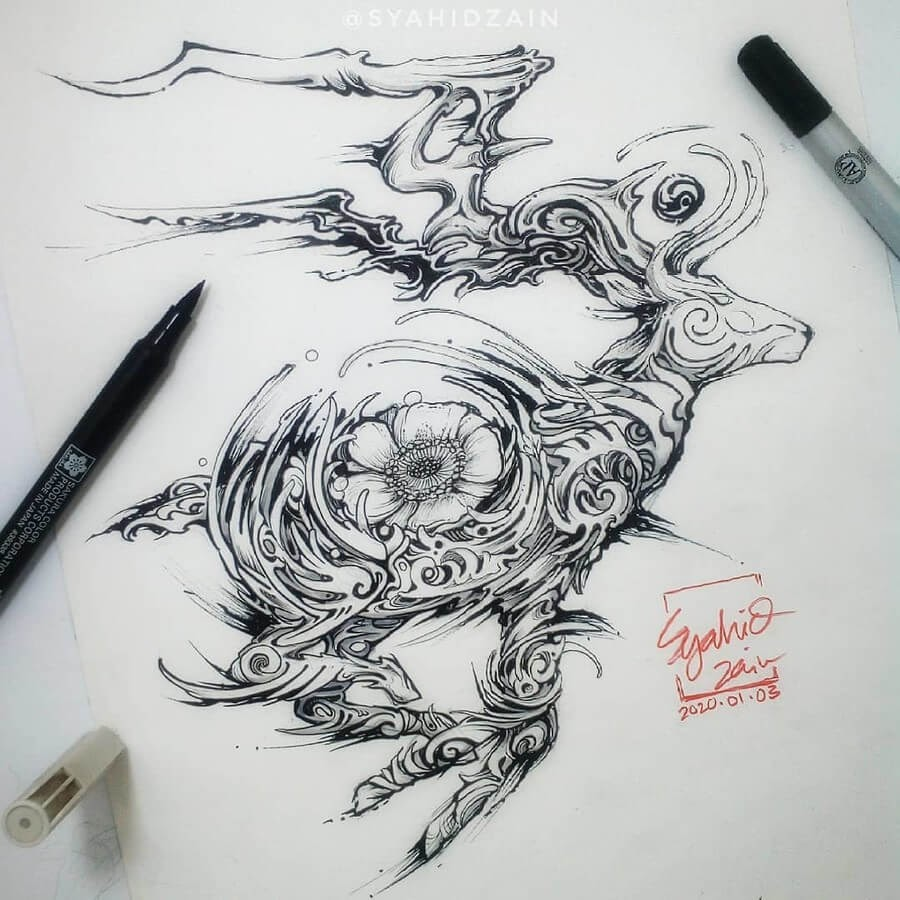 04-Stag-Animal-Drawings-Syahid Zain-www-designstack-co