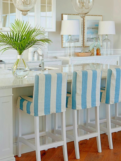 Slipcover Kitchen Counter Bar Stools Coastal Kitchen Decor Design Idea