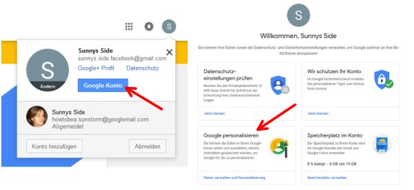 Am Googlekonto (oben rechts im Browser) anmelden