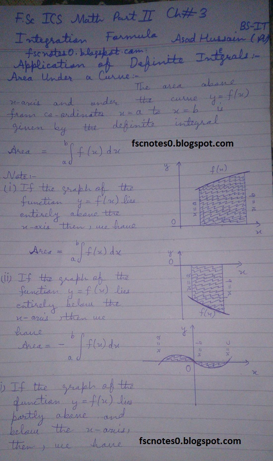 FSc ICS Notes Math Part 2 Chapter 3 Integration Formula Application of Definite Integral by Asad Hussain