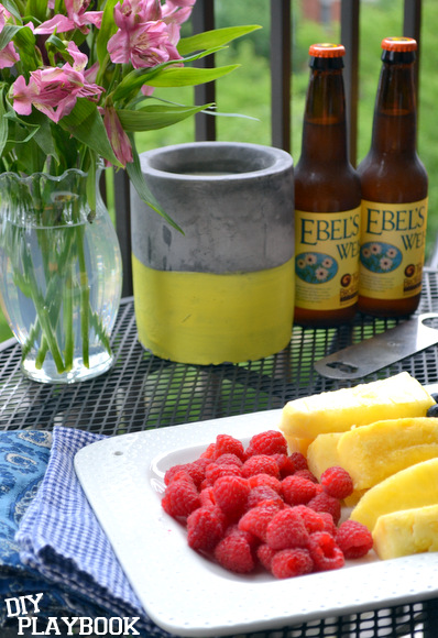 beer and fresh fruit