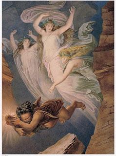 Albérich maudit l'amour pour voler l'or du Rhin, toile de Franz Heigel (1866)