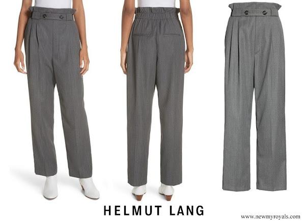 Queen Rania wore a Helmut Lang Paperbag Waist Wool Gabardine Pants
