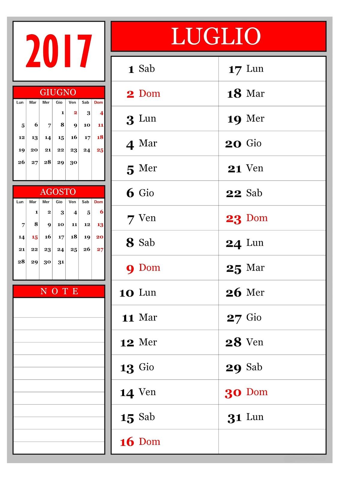 Calendario Anno 2015 Mensile.Calendario Calendario Mensile Luglio 2017