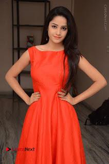 Telugu Actress Divya Nandini Stills in Orange Sleeveless Gown at Chennai Chaitrama Movie le Launch Event  0007.JPG