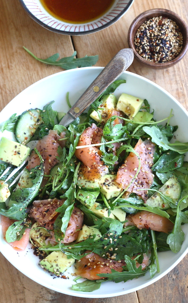 Smoked Salmon Salad with Japanese Ponzu Dressing recipe by SeasonWithSpice.com