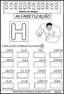 Atividades de alfabetização letra H