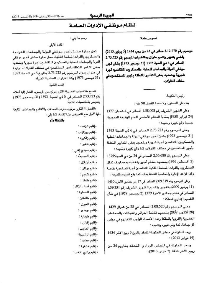 التعويض عن الإقامة حسب تريتب العمالات و الأقاليم و الجماعات التابعة لها