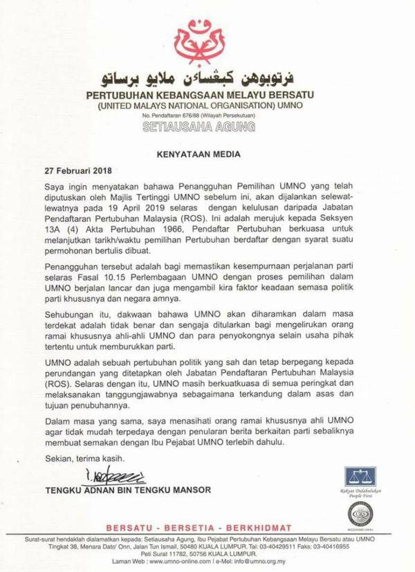 Cawangan Tidak Terbubar, UMNO Dapat Kelulusan ROS Tangguh Pemilihan Parti – Tengku Adnan