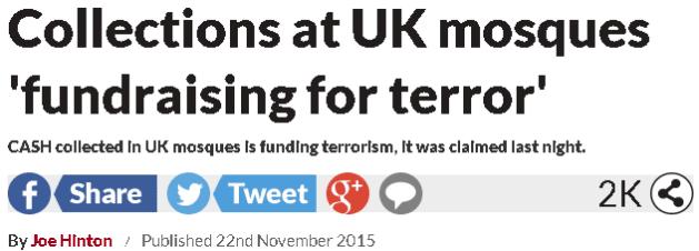 المساجد تجمع تبرعات لتمويل الإرهاب