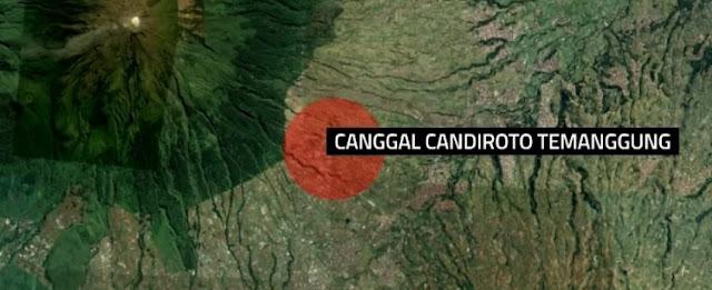 Ilustrasi tempat jatuhnya helikoter Basarnas di Canggal Candiroto Temanggung. Foto : Kompas TV.
