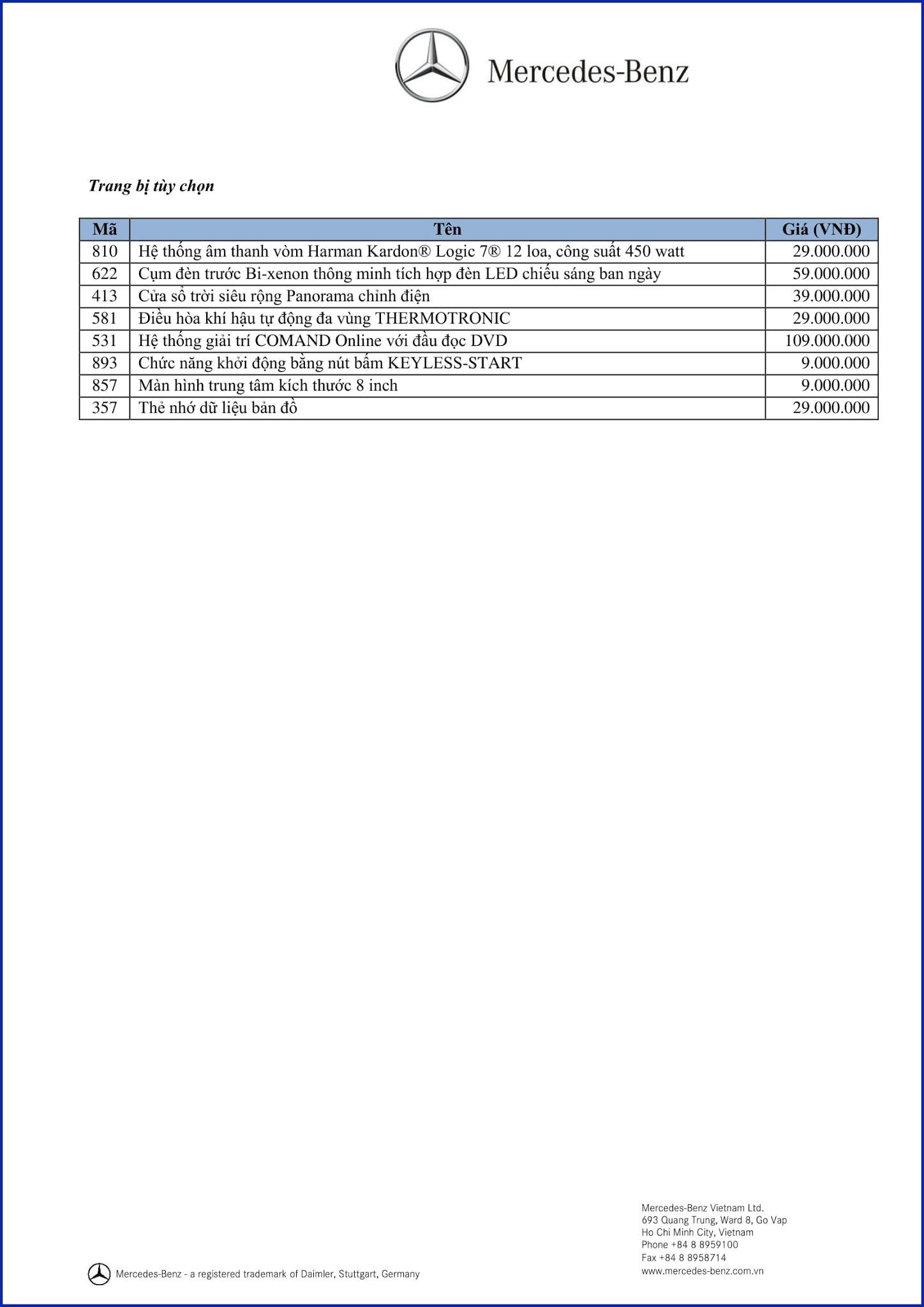 Bảng thông số kỹ thuật Mercedes CLA 200 2017 tại Mercedes Trường Chinh
