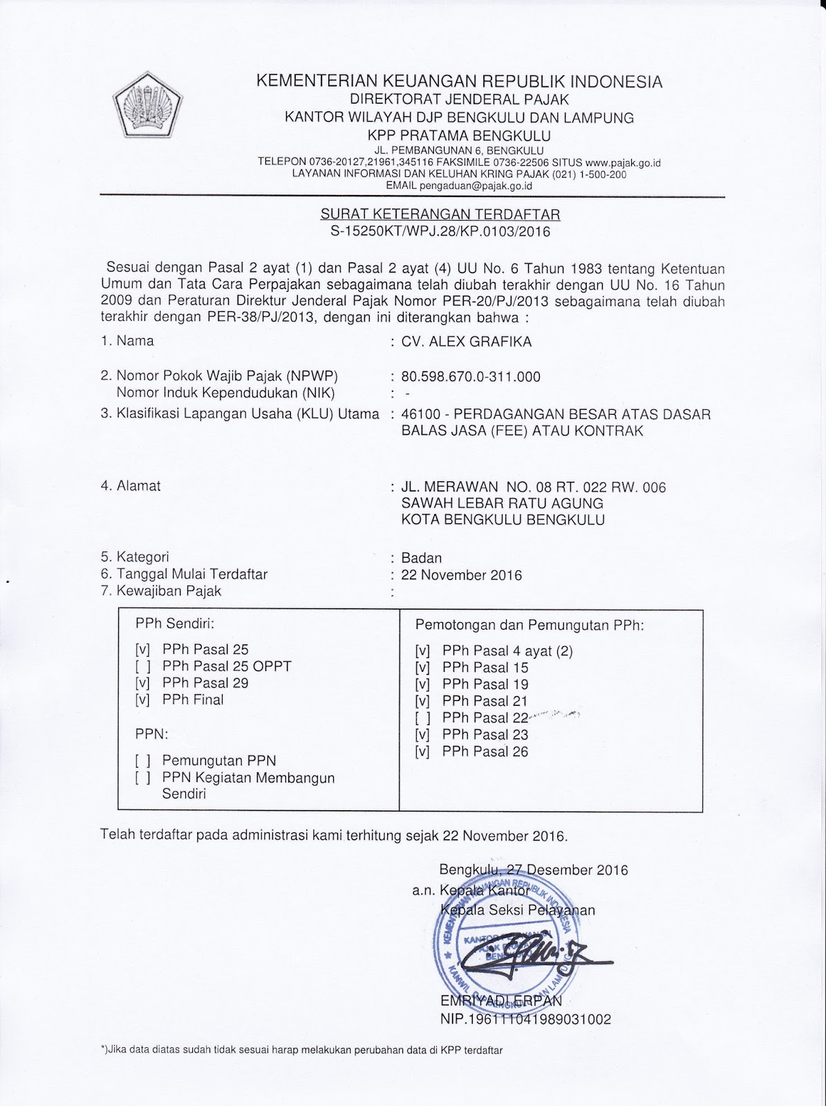 Surat Keterangan Terdaftar Wajib Pajak