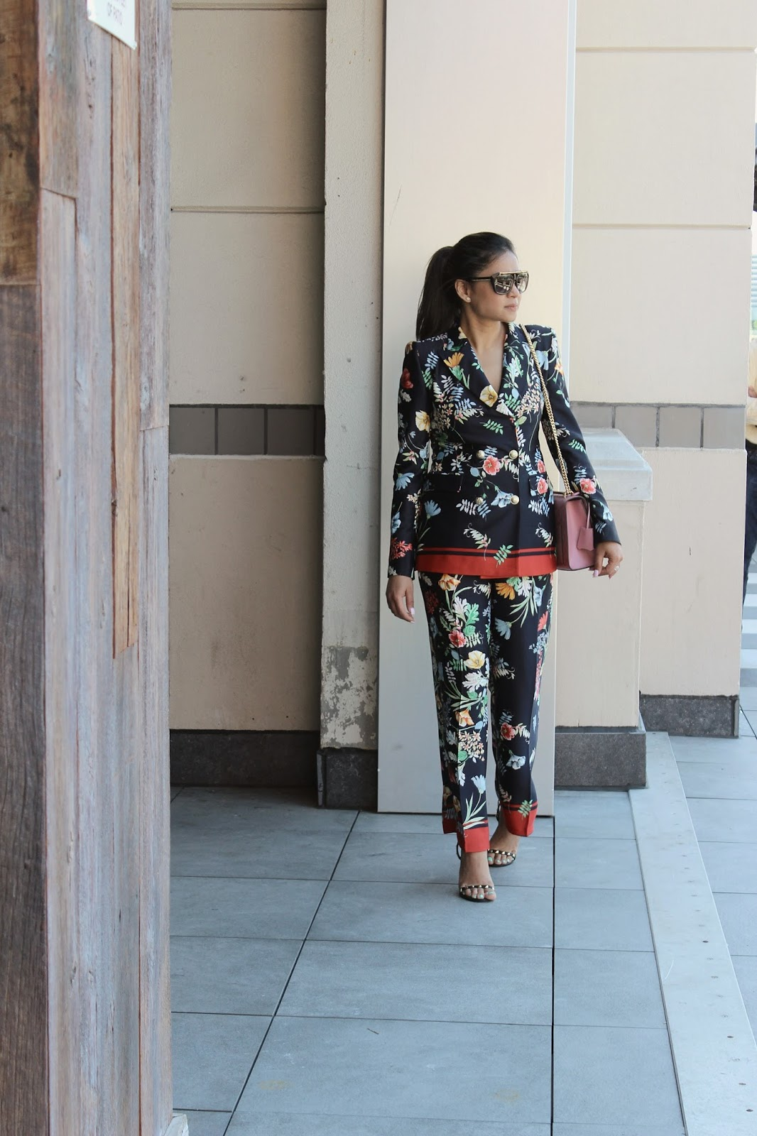five reasons you need a pant suit, printed pant suit, print, trousers, white double breast blazer, fashion, style, street style, outfit of the day, black sandals, saumya