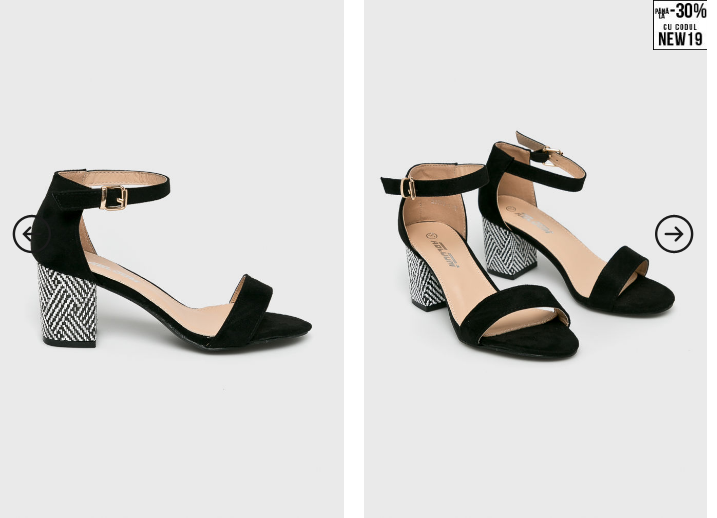 Answear - Sandale Abloom cu toc gros negre moderne si ieftine