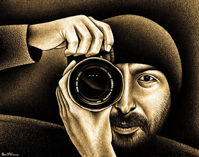 photographer gilad benari, drawing by ben heine