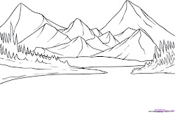 easy mountain mountains drawing draw sketch drawings coloring