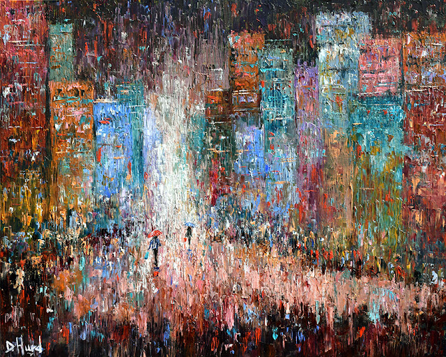 Cityscape Art Street Scene Painting Red Textured by Debra Hurd