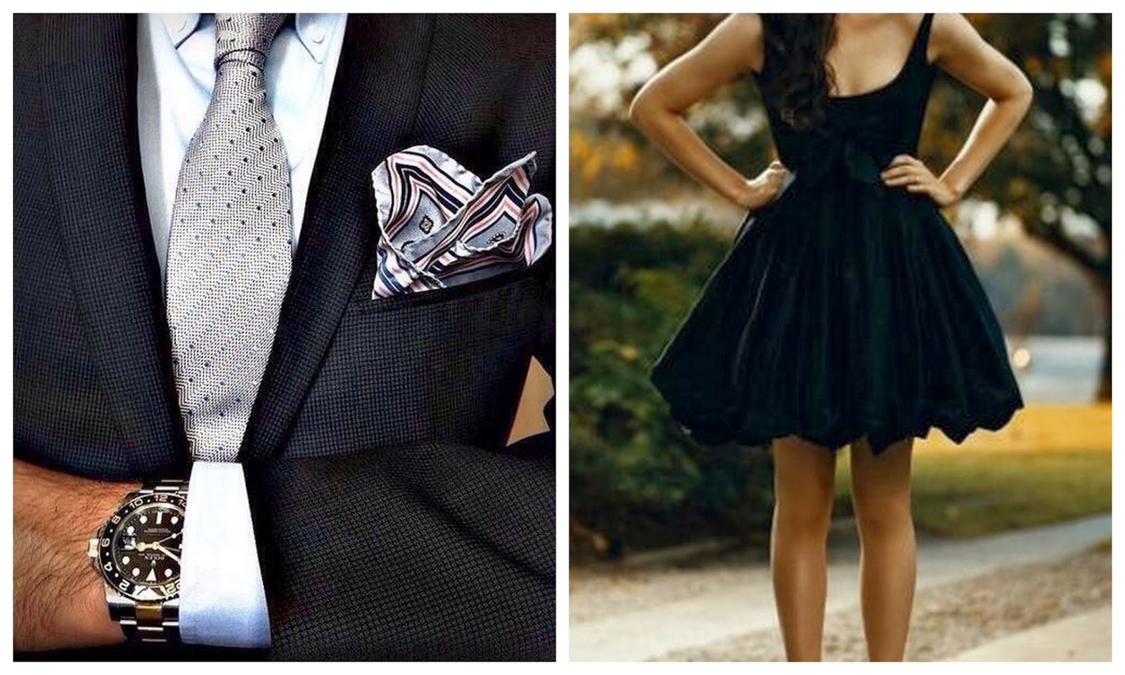 Little Black Dress, Mens Suit and Tie with Hanky