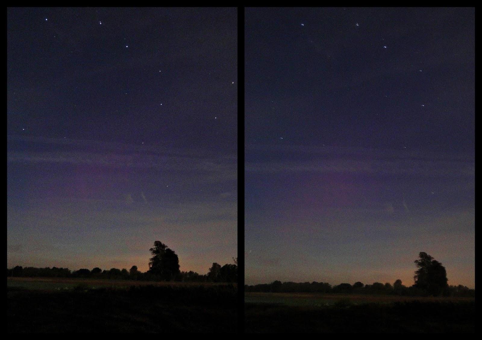 Subtelna zorza polarna sfotografowana 13.10.2016. Okolice Kraśnika, lubelskie. Autor: Jan Jakóbczak