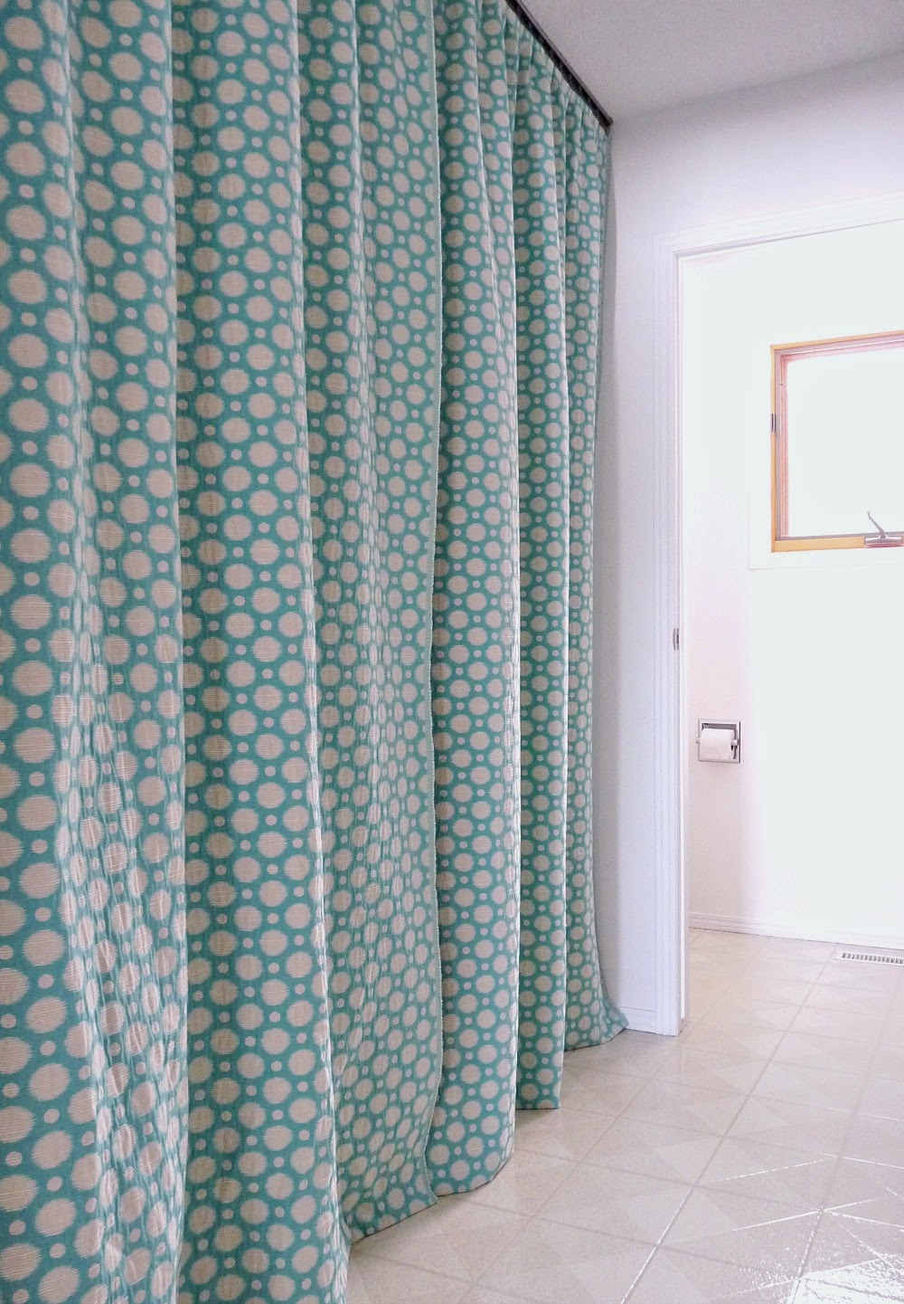 Aqua Polka Dot Curtains