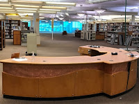 Most of the furniture has been removed from the library.