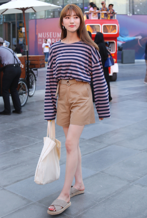Extended Sleeve Round Neck Striped T-Shirt