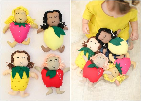 muñecas frutas, dolls fruits, juguetes, costura, manualidades