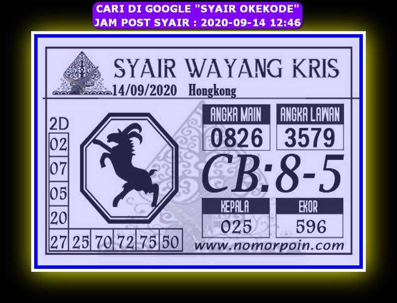 Kode syair Hongkong Senin 14 September 2020 313