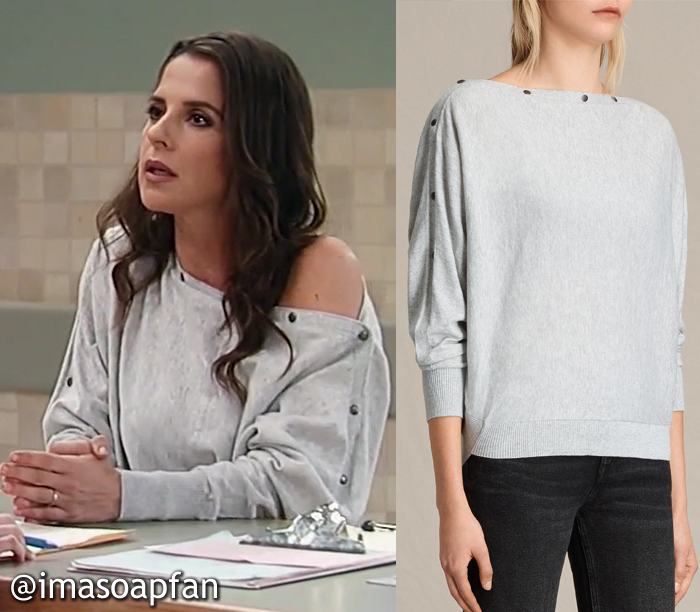 Sam Morgan, Kelly Monaco, Grey Sweater with Snap Button Neckline, AllSaints, General Hospital, GH, Season 55, Episode 05/08/17