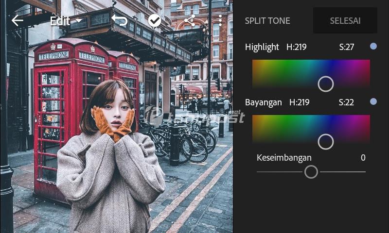 Pengaturan nilai split tone rumus lightroom urbex di lightroom mobile android