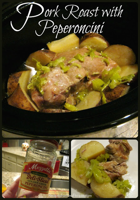 Here's a 2-ingredient crockpot recipe that couldn't be easier or more flavorful. Start with a boneless pork sirloin roast, pour on a jar of peperoncini, turn on the slow cooker and wait to savor the goodness.