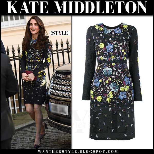 Kate Middleton in black floral embroidered mini dress erdem what she wore