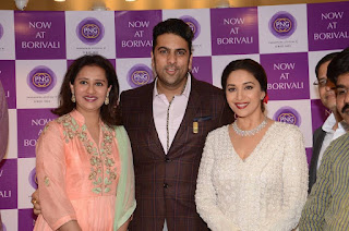 Actress Madhuri Dixit Pictures in Designer White Salwar Kameez at PNG Jewelers Launch  0011.jpg
